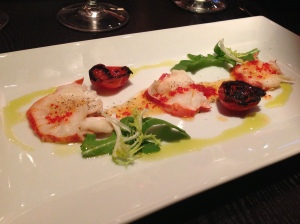 Lobster carpaccio with lemon-infused olive oil