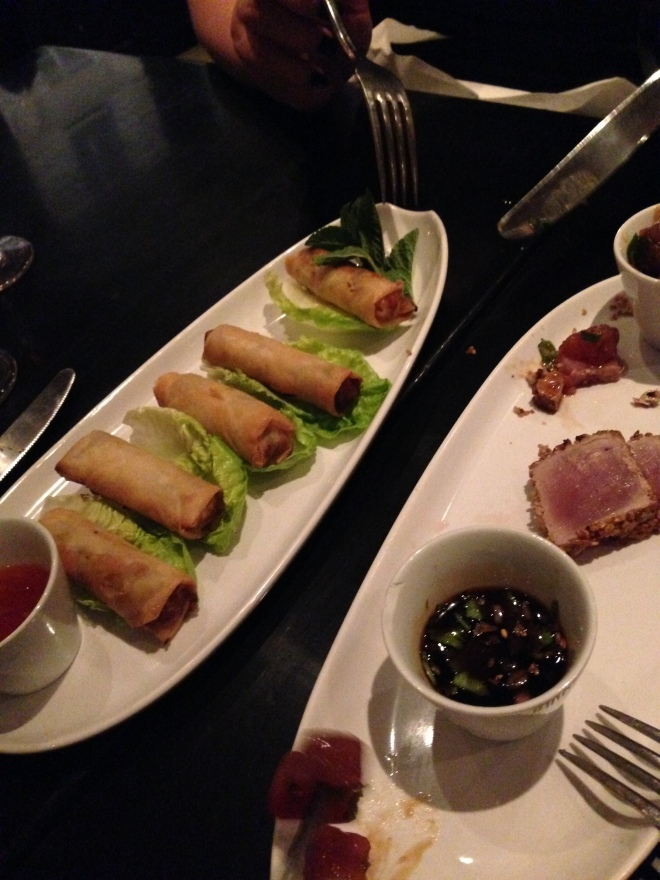 Our appetizers: veggie spring rolls and tuna tataki